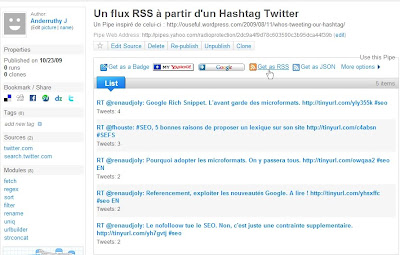 Yahoo! Pipes avec Twitter
