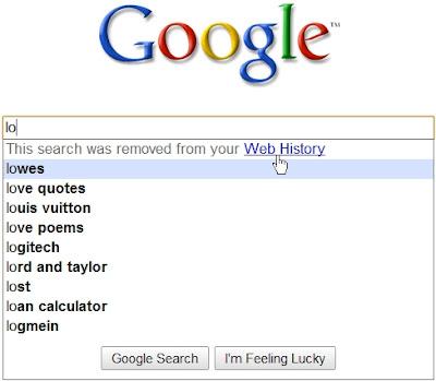 Google Suggest tient compte de l'Historique des recherches