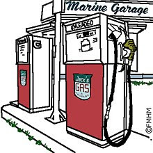 Twin gas pumps at Marine Garage