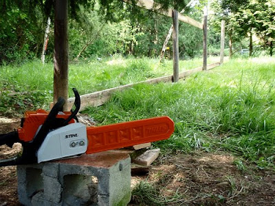 chainsaw in a yard