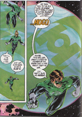 Hal also left a cooler full of Coors empties, a half eaten sandwich, and some condom wrappers on Mogo. Somewhere, a Green Lantern Indian is crying.