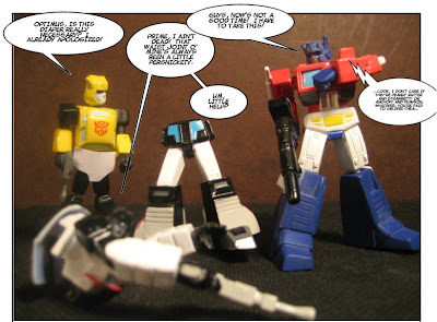 Next, Prime started yelling, 'Decepticon!' at his own arm and shot it...