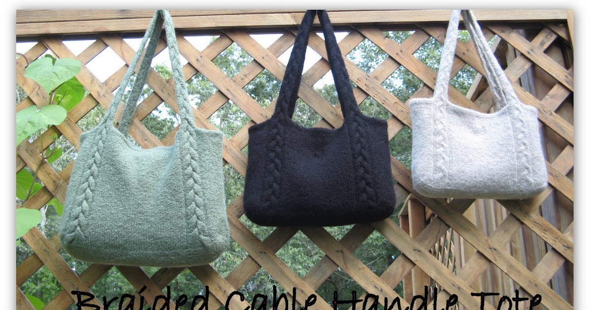 Knitted Tote Bag Pattern : Knitting in my Backyarn: Braided Cable Handle Tote A Free Pattern!