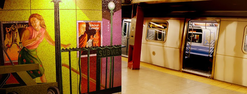 subway mural, train