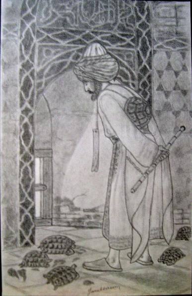 classiccars.drawing: kaplumbağa terbiyecisi (karakalem)