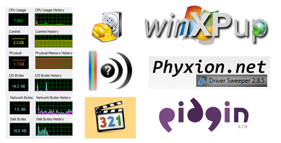 Pidgin Win XP Up Process Explorer Driver Sweeper Recuva MediaInfo K-Lite Codec Pack