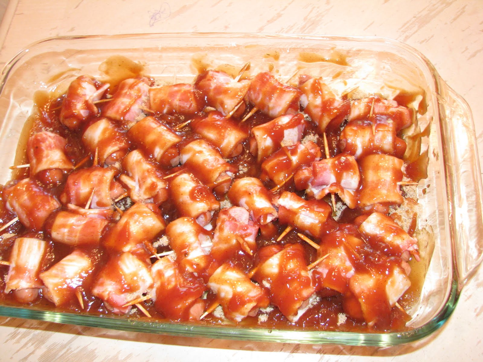Home Baked Memories: Barbecue Bacon Wrapped Smokies