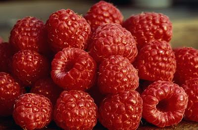 Темные ягоды малины.