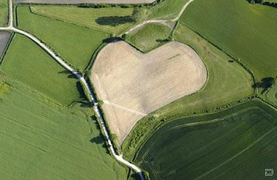 Поле в форме сердца выделяется желтым цветом земли на фоне окружающей зеленой растительности. Созданное человеком сердце мира среди зеленых полей креатив фото.