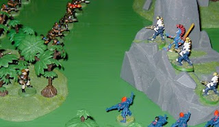 The Dire Avengers and Guardian Defenders advance to meet the Imperial Guard Attack