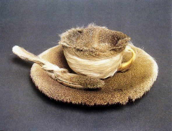 fur covered cup saucer and spoon 1936 luncheon in fur if you don t    Object Luncheon In Fur