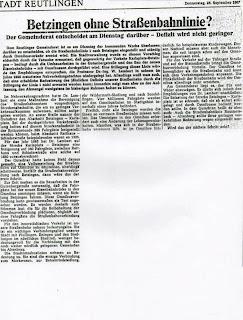 Betzinger Portfolio: Betzingen ohne Straßenbahnlinie?