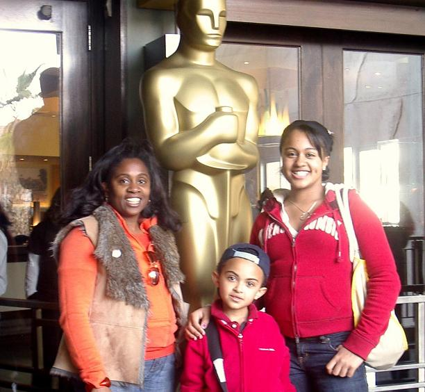 Yolande Beckles mixing with the stars - with the family outside the Kodak Theatre in Hollywood