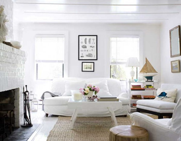 vintage all white living room sofa furniture at contemporary beach