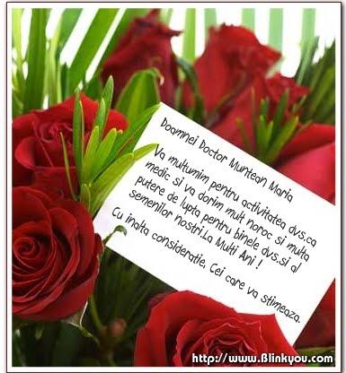 Multumim Doamna Doctor Muntean Maria !
