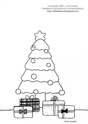 dibujo de un rbol de navidad para imprimir y colorear