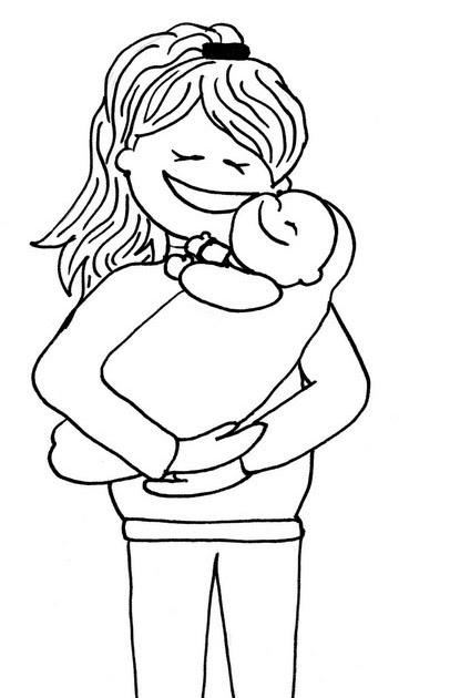 paint a drawing: Dibujo de una madre con su bebé para colorear