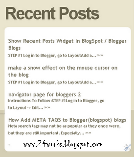cool recent post widgets blogger