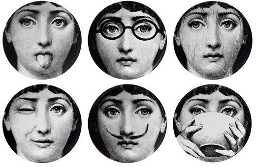 Papier Peint Fornasetti Visage - RARE Fornasetti Papier Peint Wall Paper FACES VISAGES