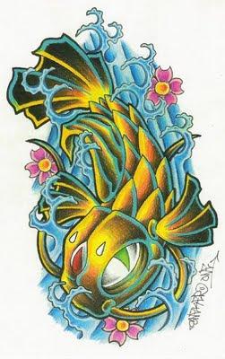 splashing water tattoo design.