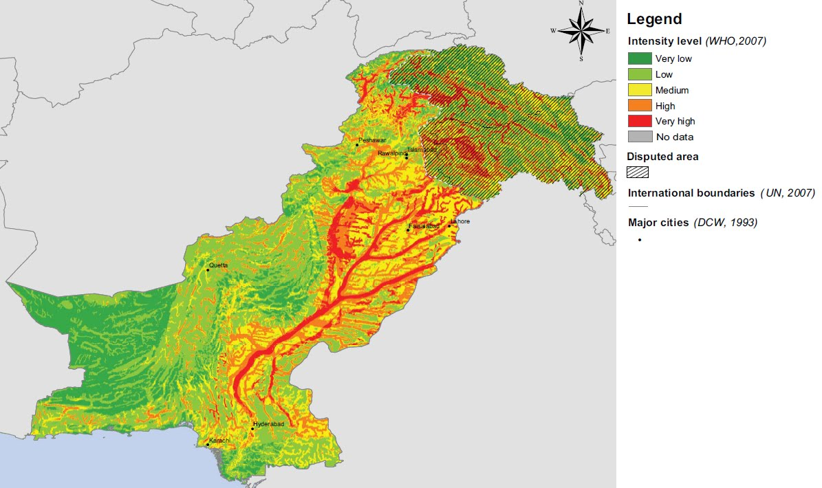 Produced a flood potential map for pakistan which i reproduce below