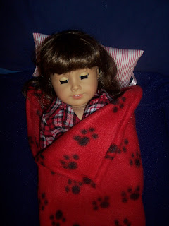 American Girl Molly with homemade sleeping bag