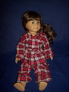 American Girl Molly with homemade plaid flannel pajamas