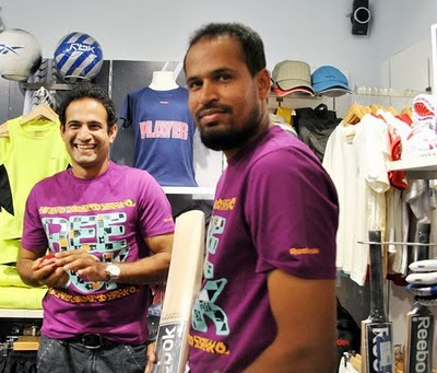 Irfan Pathan and Yusuf Pathan at Reebok Junior Store