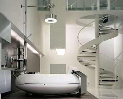 Futuristic bathroom designmodern future house interior for Ultra modern bathroom designs