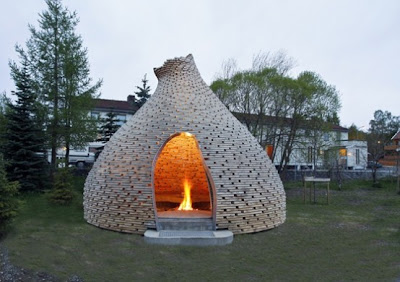 Outdoor fireplace,Garden Fireplace by Hagen and Zohar
