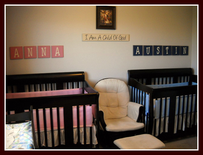 Super saturday crafts twins baby room for Baby twin bedroom ideas