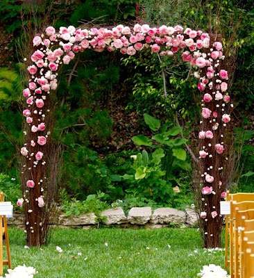 C used our Natural Birch Branches to construct a gorgeous wedding arch