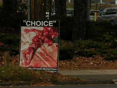 An anti-abortion sign near Yale, Nov. 10, 2009