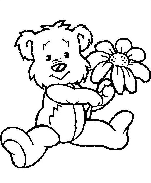 Dibujos para colorear: Dibujos para colorear - Animales - Osito con flor