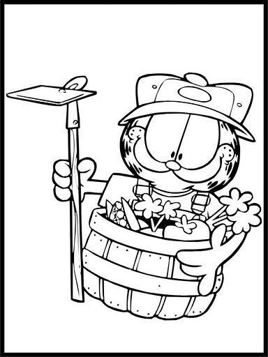 Dibujos para colorear: Dibujos para colorear - Garfield en el jardin