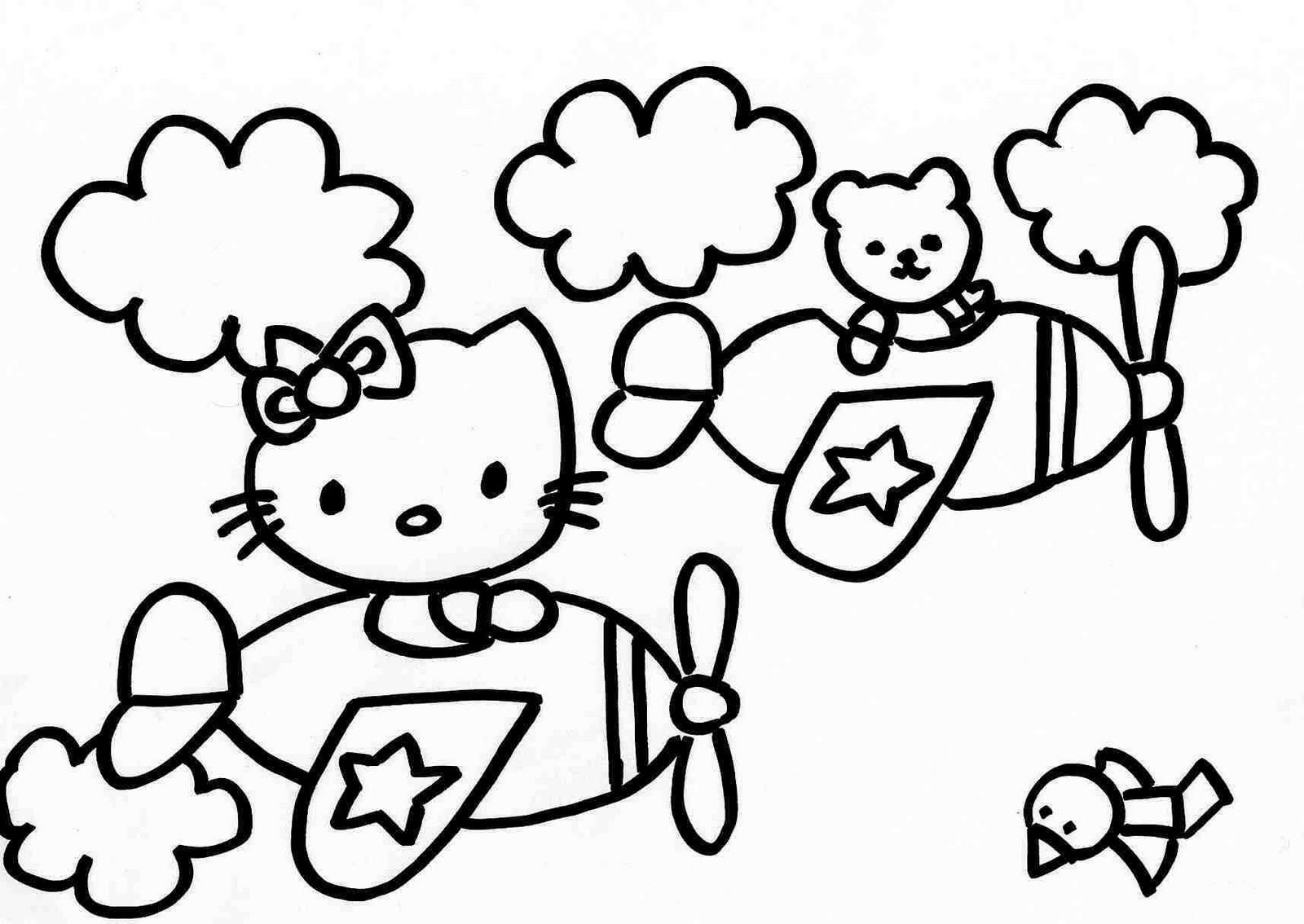 Dibujos para colorear: Hello Kitty volando para colorear