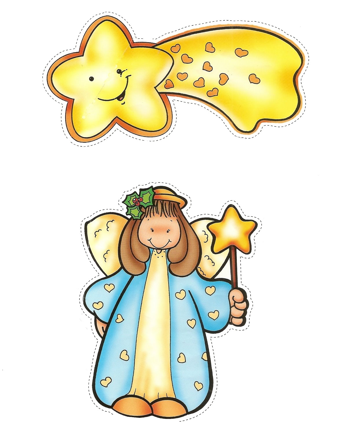 ... para recortar: Figuras de Belen para recortar - Angel y estrella