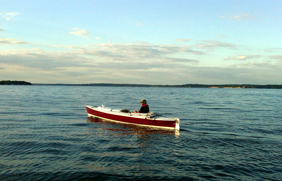 ROWING FOR PLEASURE: A Mirage drive boat on Chesapeake Bay