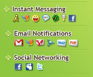 Twitter, Facebook, Yahoo Messenger, Google Talk, Email Berkolaborasi di Digsby