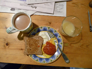 coffee toast eggs juice cottage cheese