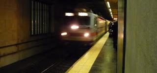approaching commuter train