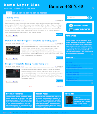 simple free blogger template blue color. layer blue blogger template