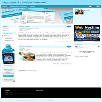 free blogger template with image slideshow Light Blue V2 for blogspot template