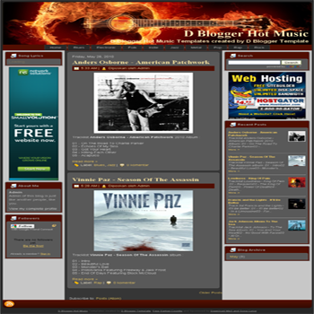 free blogger template D Blogger Hot Music blogger template