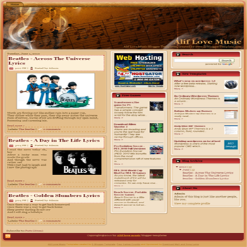 free blogger template Alif Love Music blogger template