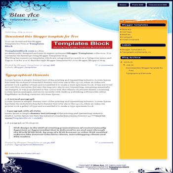 free blogger template convert wordpress theme to blogger Blue Ace blogger template