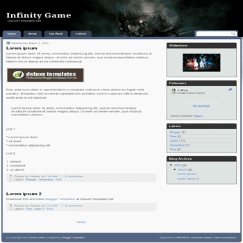 free blogger template Infinity Game for blogspot template