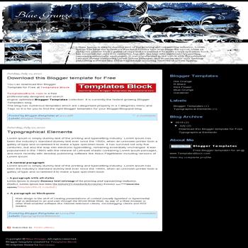free blogger template convert wordpress theme to blogger Blue Grunge blogger template