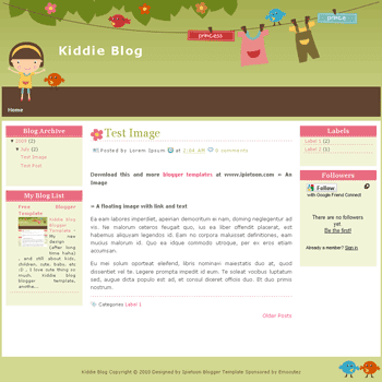 free blogger template Kiddie Blog blogger template
