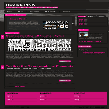 free blogger template Revive Pink Blogger Template